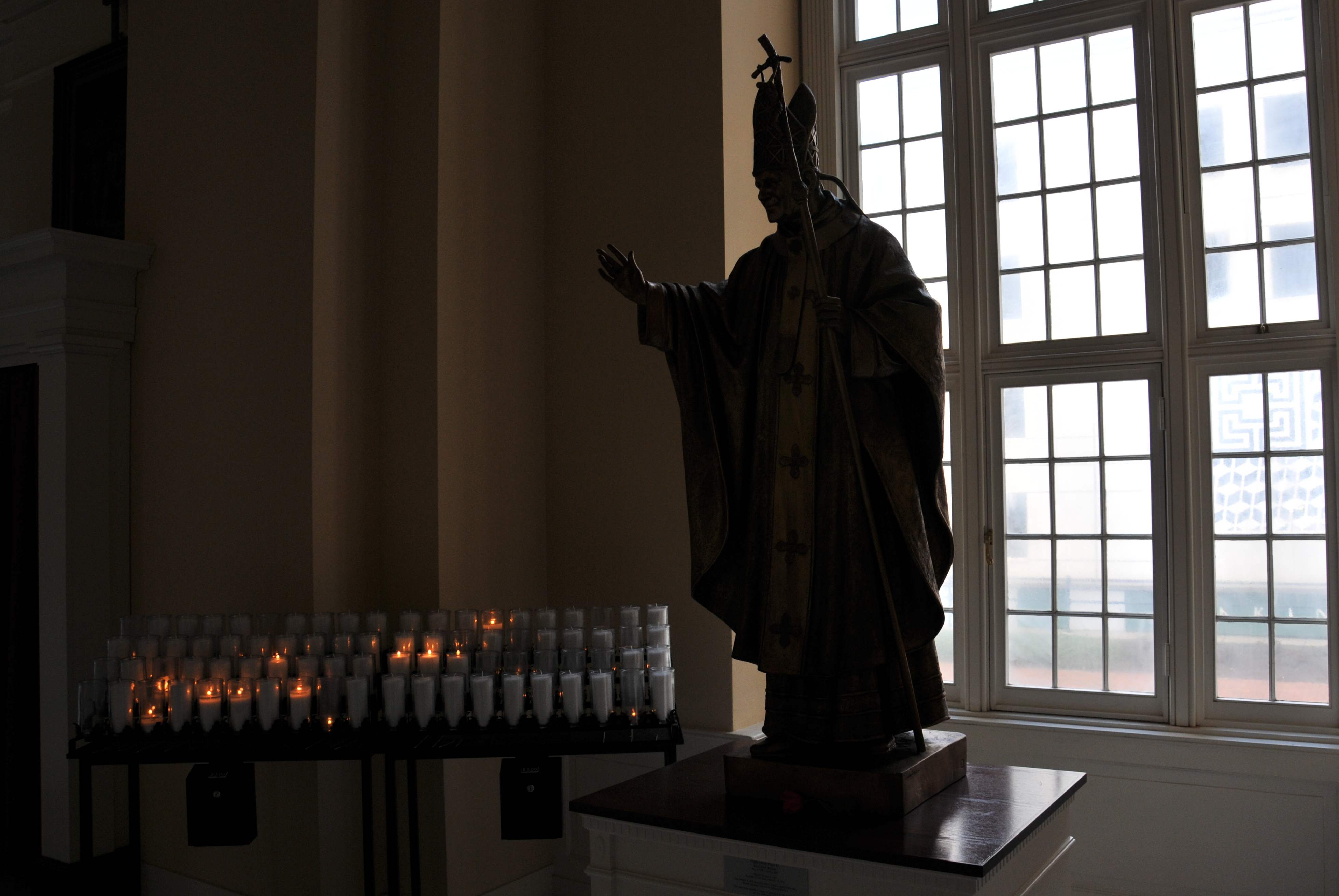 Pope John Paul II and Candles Lit